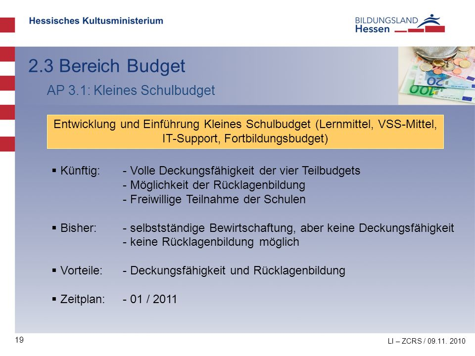 2.3 Bereich Budget AP 3.1: Kleines Schulbudget