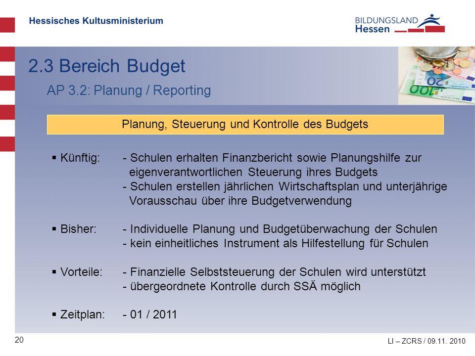 Planung, Steuerung und Kontrolle des Budgets