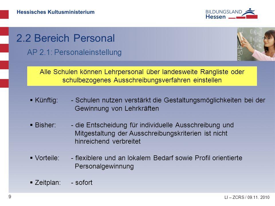 2.2 Bereich Personal AP 2.1: Personaleinstellung