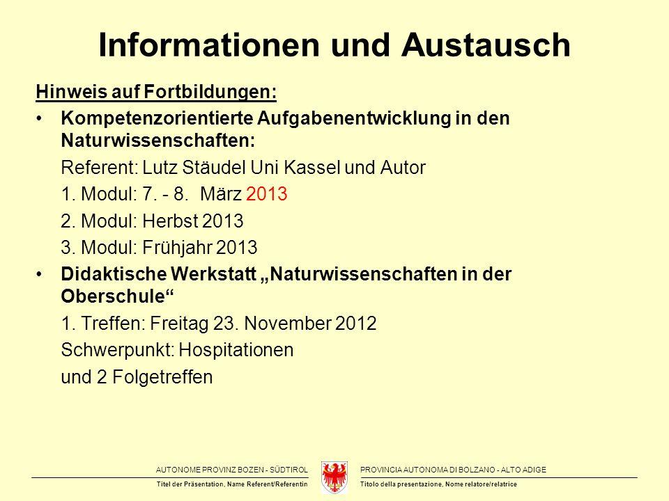 Informationen und Austausch