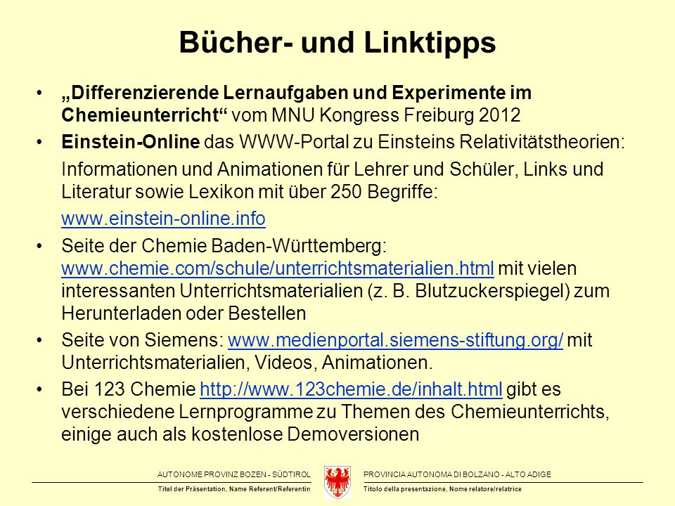 """Bücher- und Linktipps """"Differenzierende Lernaufgaben und Experimente im Chemieunterricht vom MNU Kongress Freiburg 2012."""