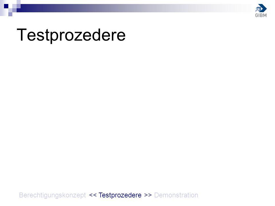 Testprozedere Berechtigungskonzept << Testprozedere >> Demonstration