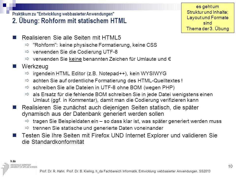 2. Übung: Rohform mit statischem HTML