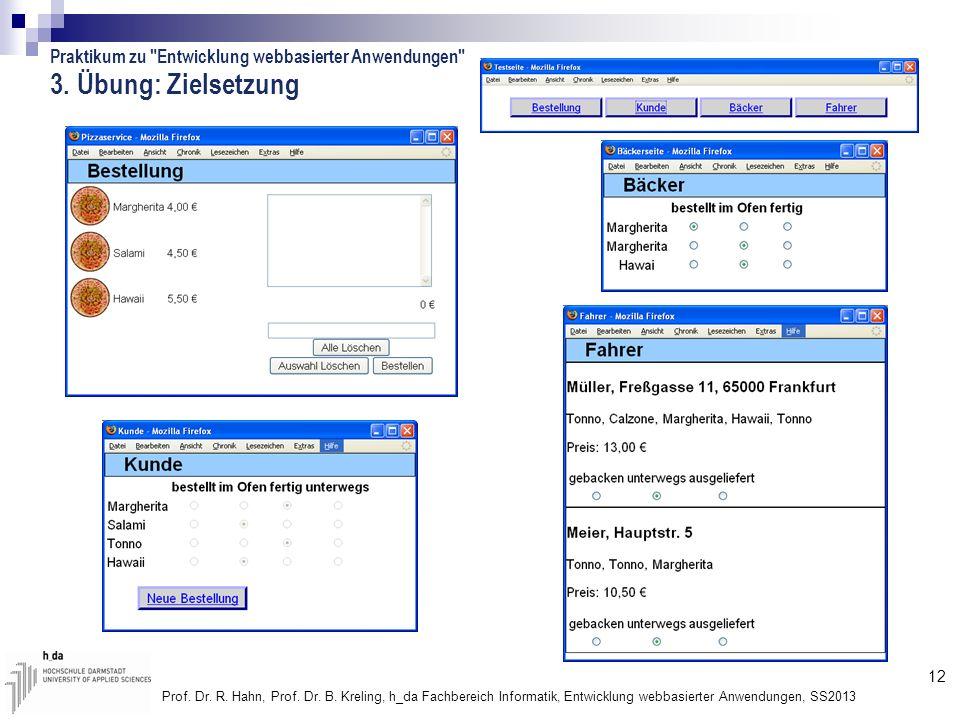 3. Übung: Zielsetzung Praktikum zu Entwicklung webbasierter Anwendungen
