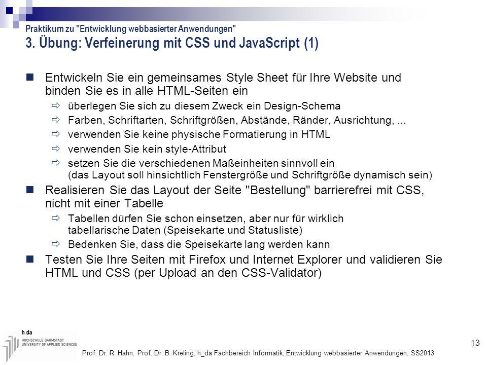 3. Übung: Verfeinerung mit CSS und JavaScript (1)