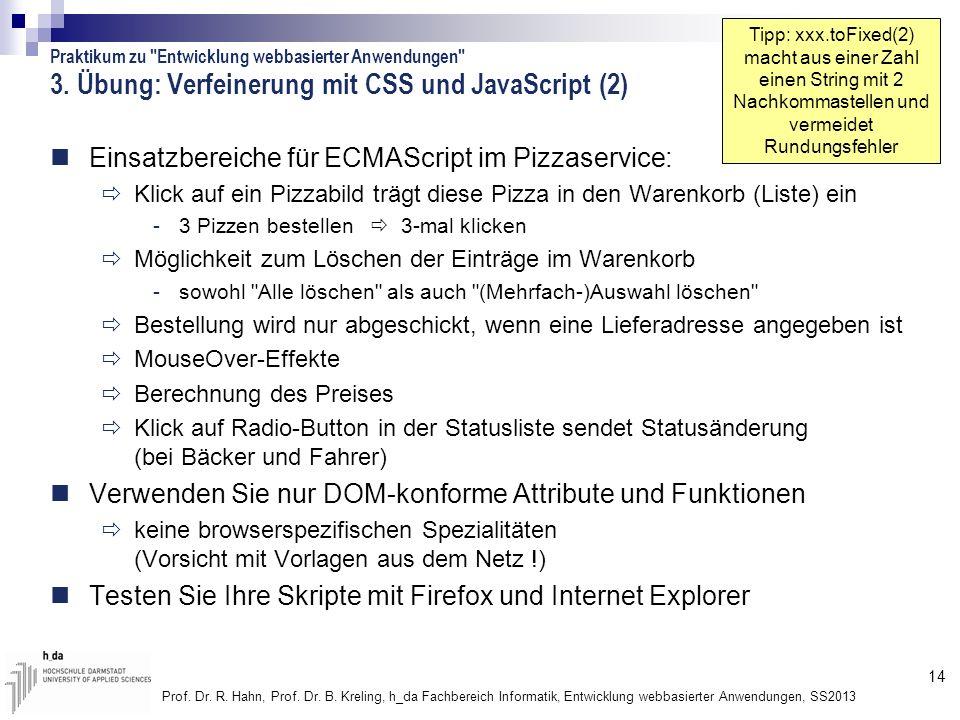 3. Übung: Verfeinerung mit CSS und JavaScript (2)