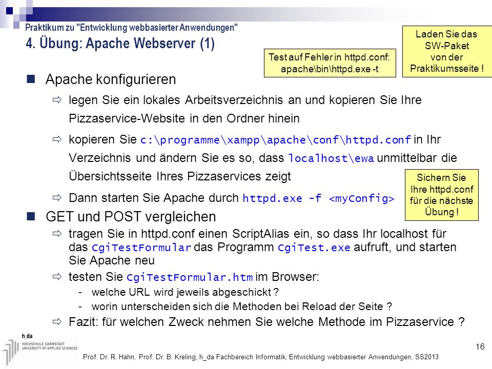 4. Übung: Apache Webserver (1)