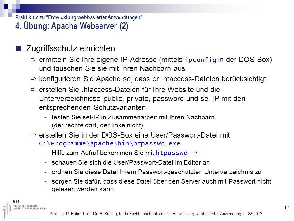 4. Übung: Apache Webserver (2)