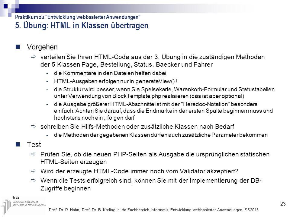 5. Übung: HTML in Klassen übertragen