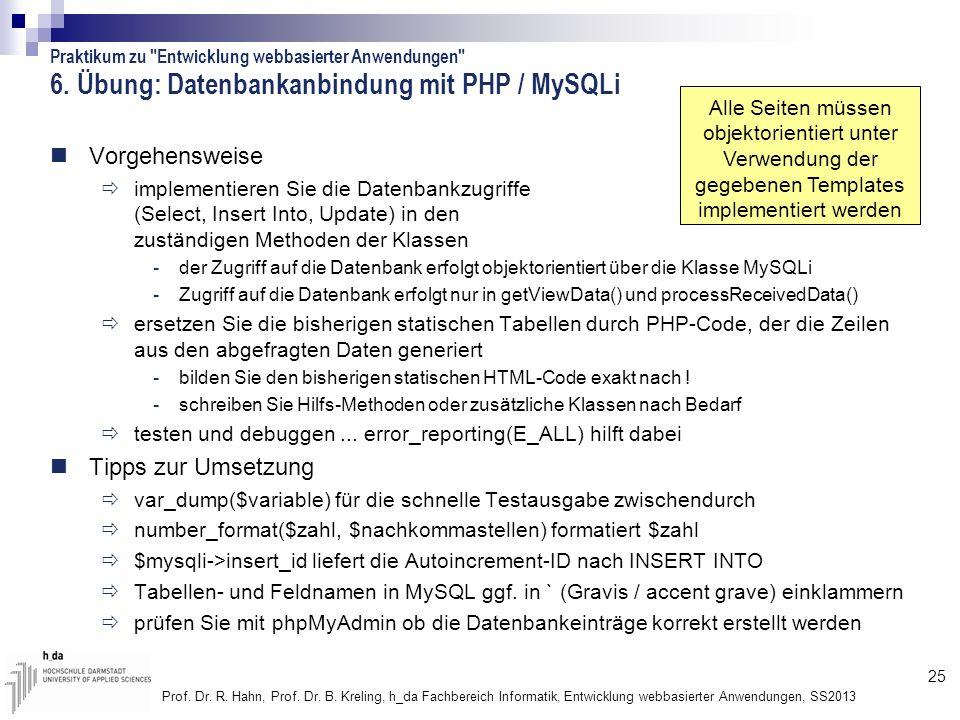 6. Übung: Datenbankanbindung mit PHP / MySQLi