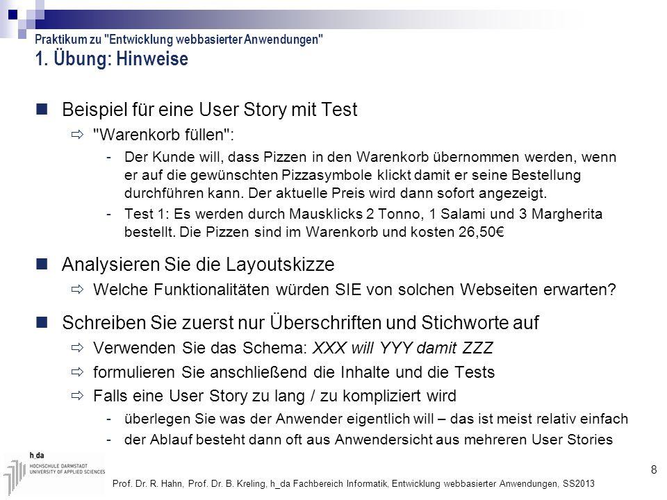 1. Übung: Hinweise Beispiel für eine User Story mit Test