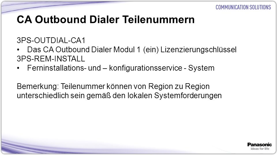 CA Outbound Dialer Teilenummern