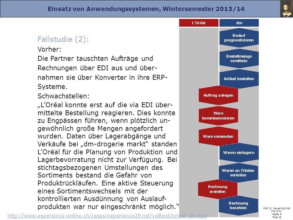 Fallstudie (2): Vorher: Die Partner tauschten Aufträge und Rechnungen über EDI aus und über-nahmen sie über Konverter in ihre ERP-Systeme. Schwachstellen: