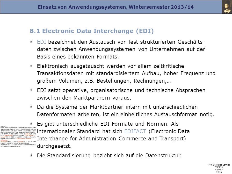 8.1 Electronic Data Interchange (EDI)