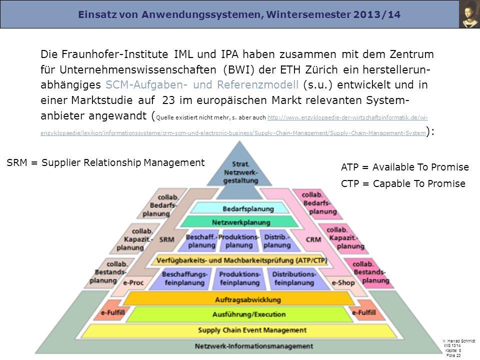 Die Fraunhofer-Institute IML und IPA haben zusammen mit dem Zentrum für Unternehmenswissenschaften (BWI) der ETH Zürich ein herstellerun-abhängiges SCM-Aufgaben- und Referenzmodell (s.u.) entwickelt und in einer Marktstudie auf 23 im europäischen Markt relevanten System-anbieter angewandt (Quelle existiert nicht mehr, s. aber auch http://www.enzyklopaedie-der-wirtschaftsinformatik.de/wi-enzyklopaedie/lexikon/informationssysteme/crm-scm-und-electronic-business/Supply-Chain-Management/Supply-Chain-Management-System):