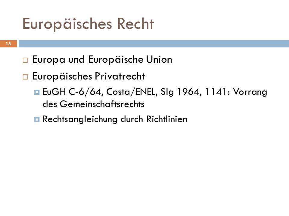 Europäisches Recht Europa und Europäische Union