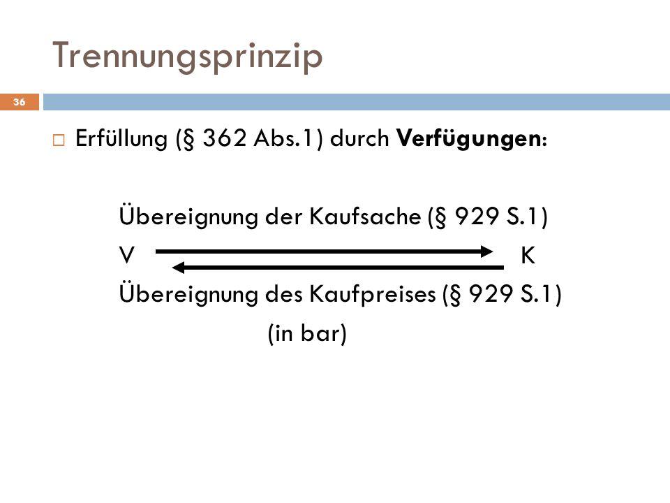 Trennungsprinzip Erfüllung (§ 362 Abs.1) durch Verfügungen: