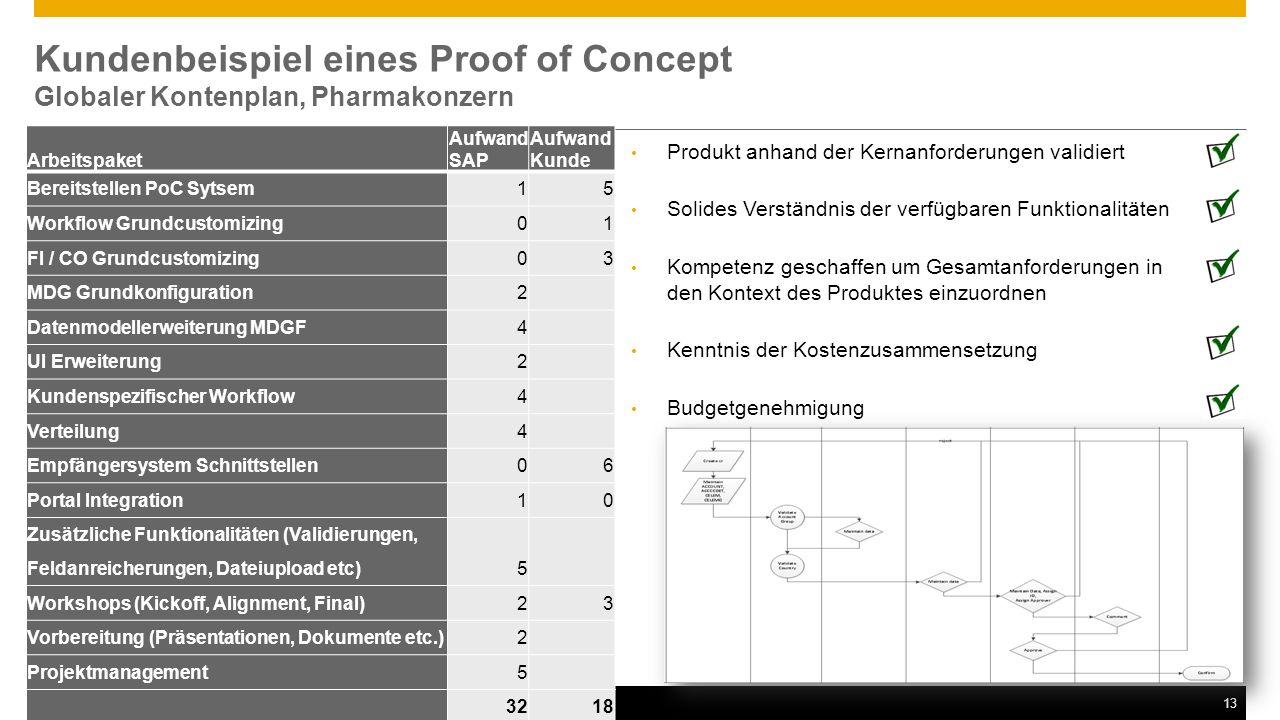 Kundenbeispiel eines Proof of Concept Globaler Kontenplan, Pharmakonzern