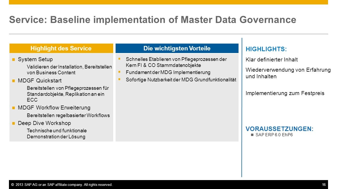 Service: Baseline implementation of Master Data Governance