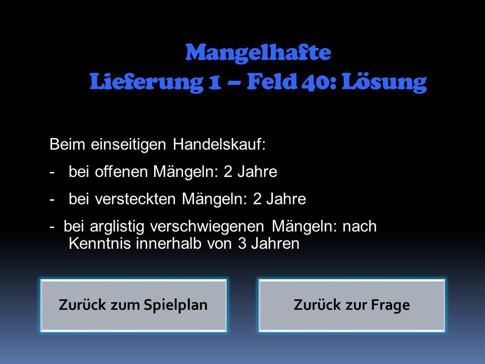 Mangelhafte Lieferung 1 – Feld 40: Lösung