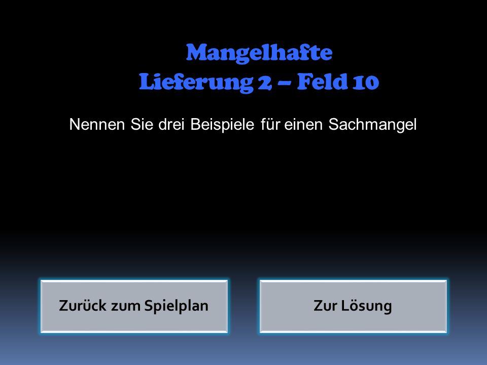 Mangelhafte Lieferung 2 – Feld 10