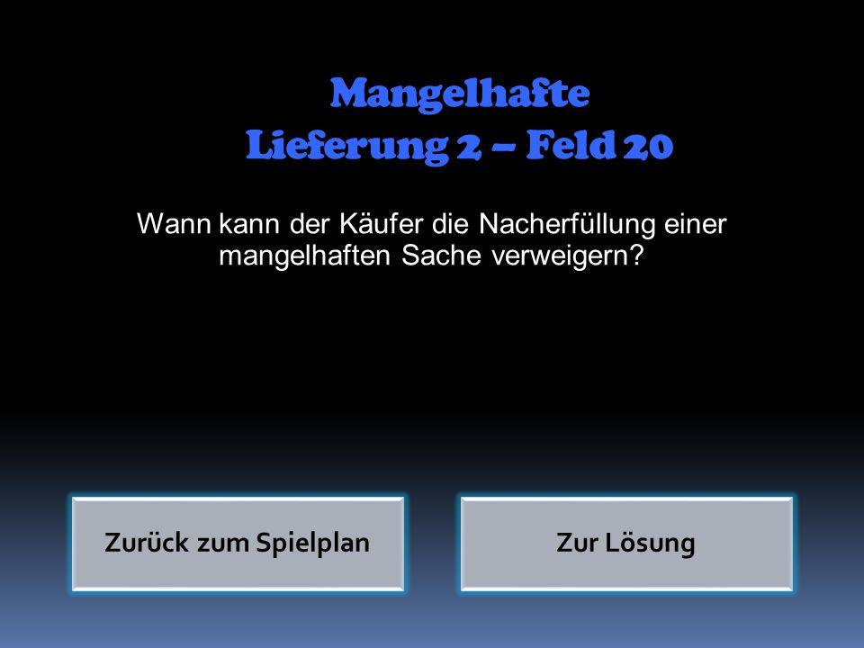 Mangelhafte Lieferung 2 – Feld 20