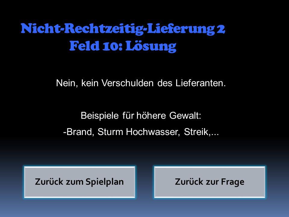 Nicht-Rechtzeitig-Lieferung 2 Feld 10: Lösung