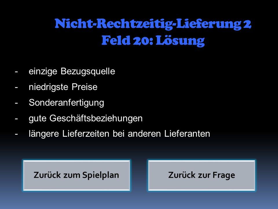 Nicht-Rechtzeitig-Lieferung 2 Feld 20: Lösung