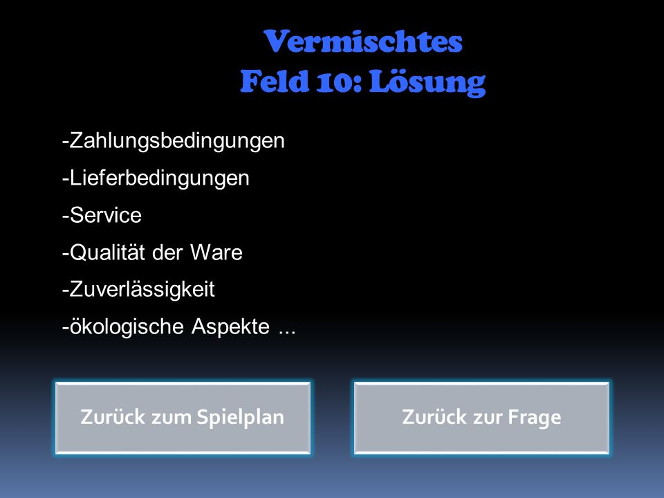Vermischtes Feld 10: Lösung