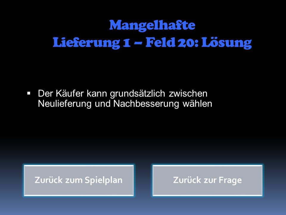 Mangelhafte Lieferung 1 – Feld 20: Lösung
