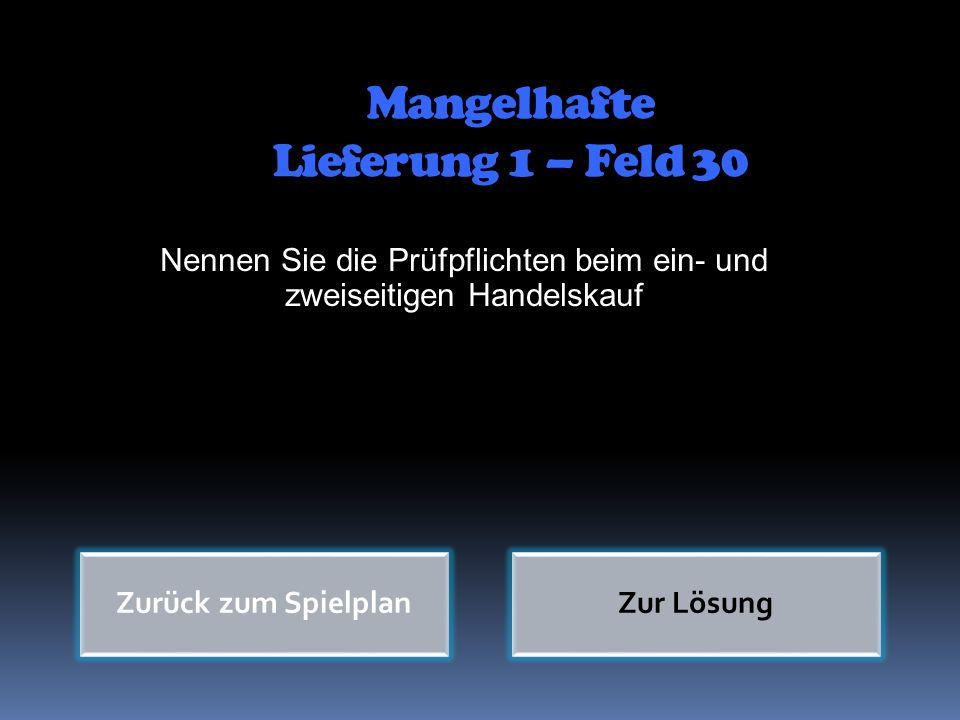 Mangelhafte Lieferung 1 – Feld 30