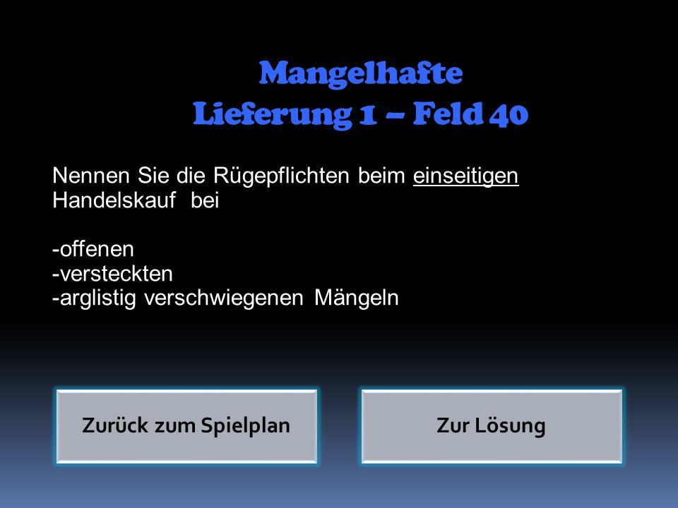 Mangelhafte Lieferung 1 – Feld 40