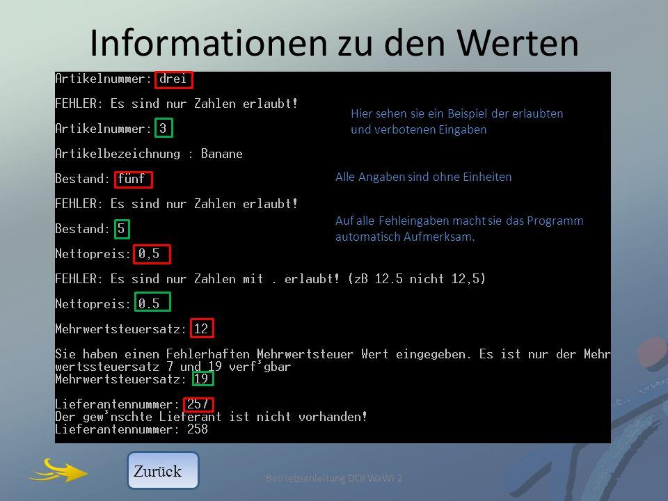 Informationen zu den Werten