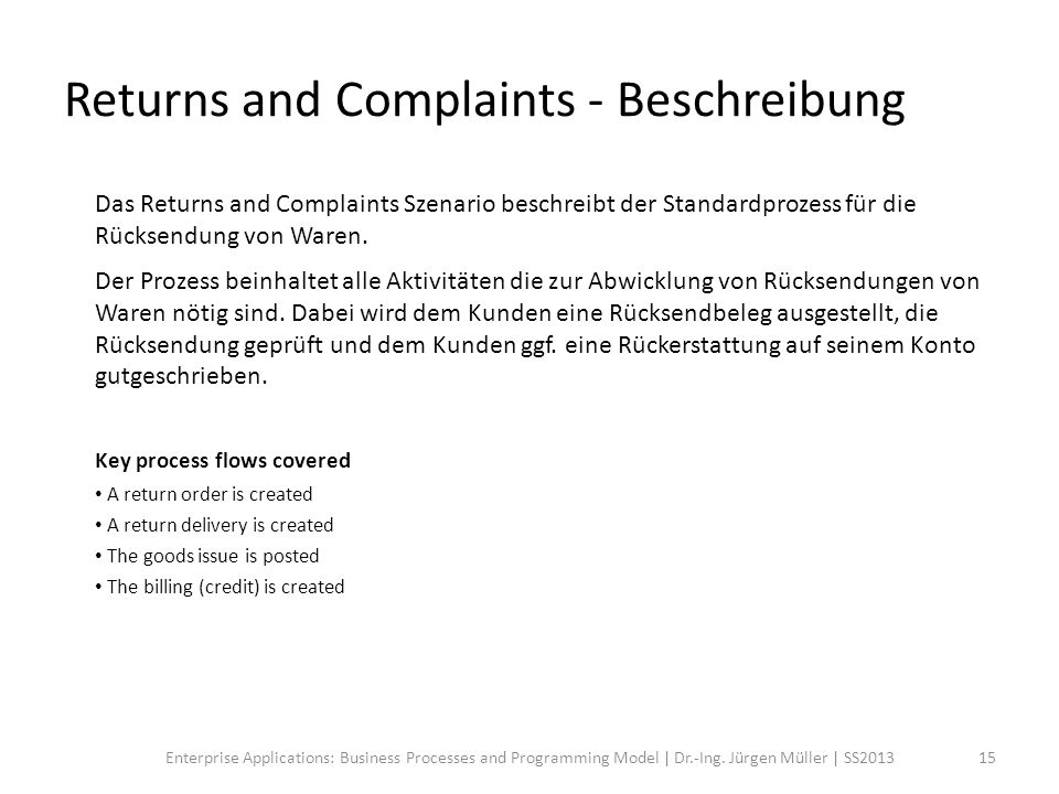 Returns and Complaints - Beschreibung