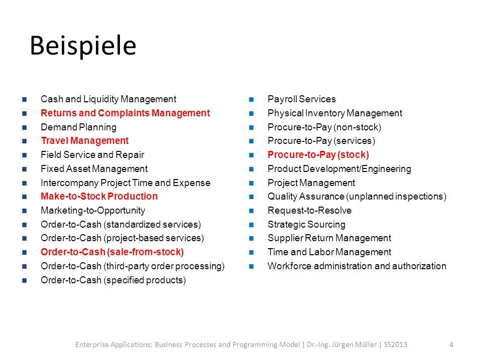 Beispiele Cash and Liquidity Management