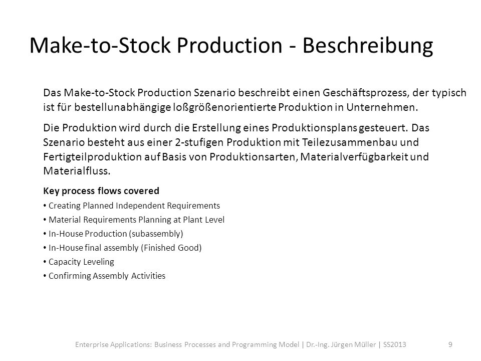 Make-to-Stock Production - Beschreibung