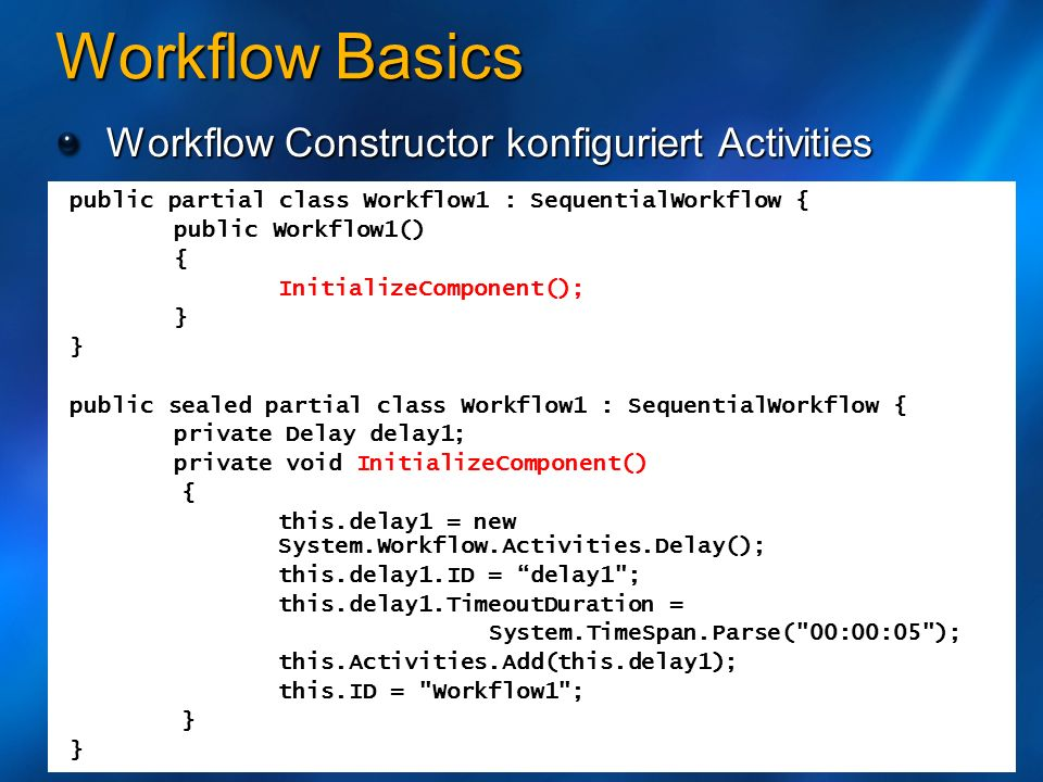 Workflow Basics Workflow Constructor konfiguriert Activities