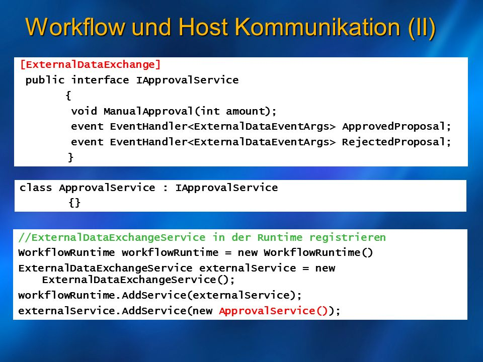 Workflow und Host Kommunikation (II)