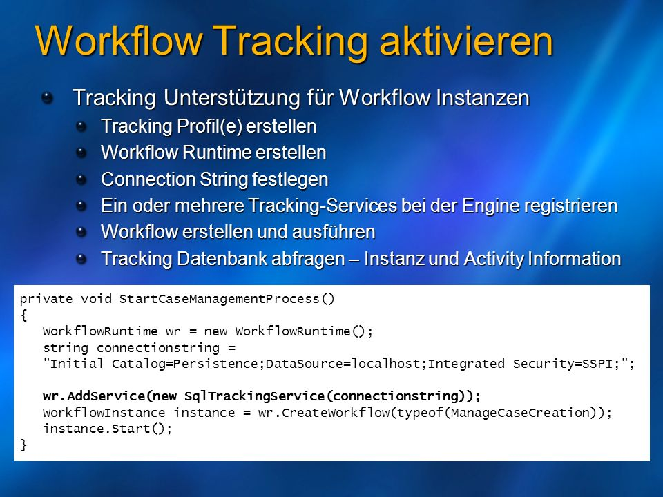 Workflow Tracking aktivieren