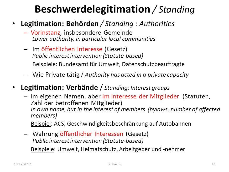 Beschwerdelegitimation / Standing