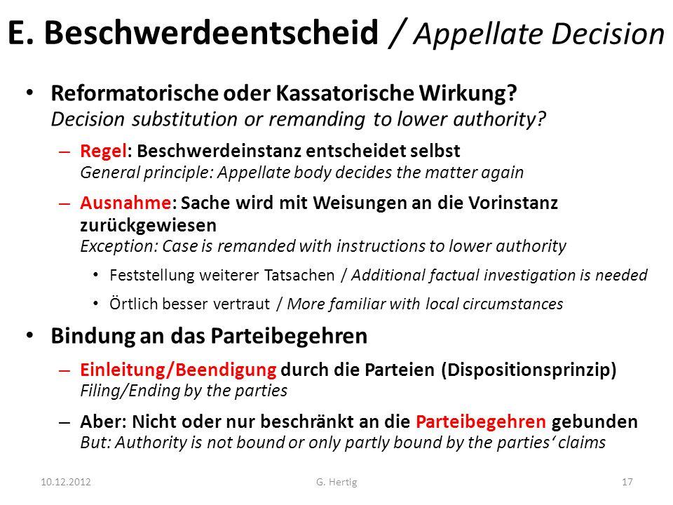 E. Beschwerdeentscheid / Appellate Decision