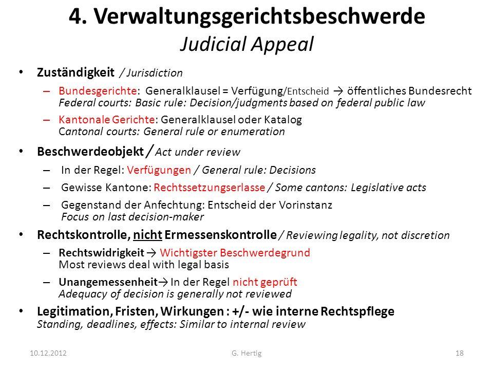 4. Verwaltungsgerichtsbeschwerde Judicial Appeal