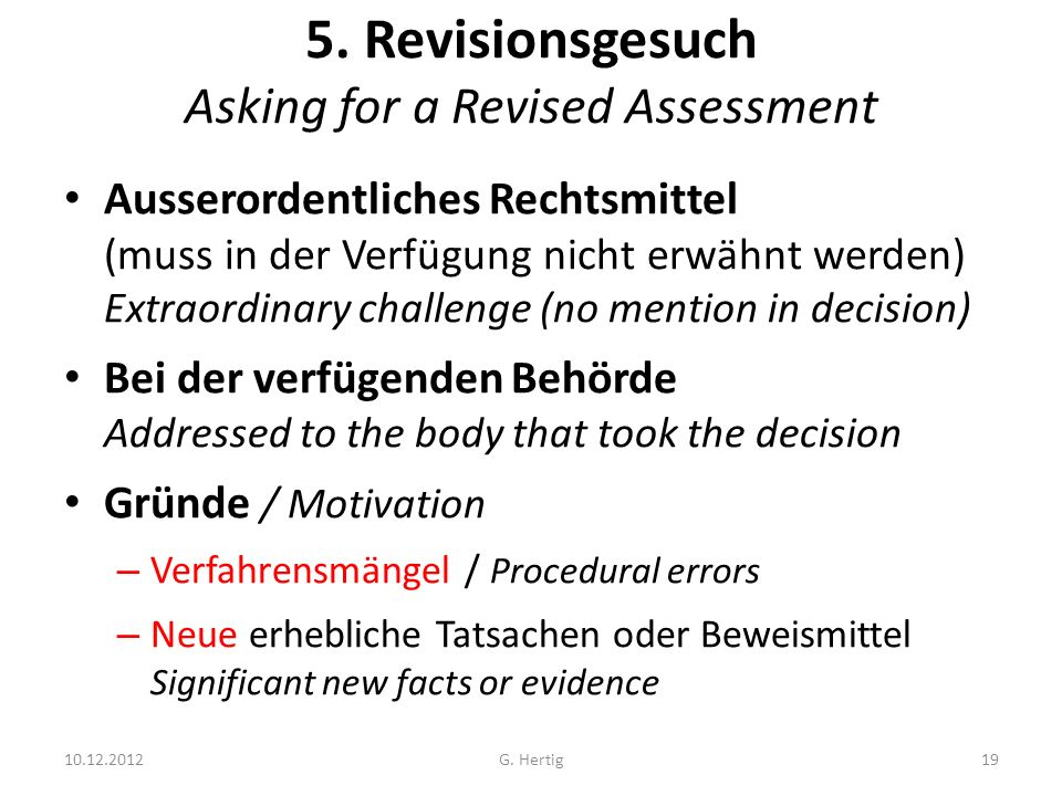 5. Revisionsgesuch Asking for a Revised Assessment