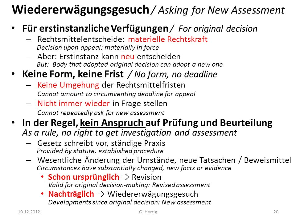 Wiedererwägungsgesuch / Asking for New Assessment