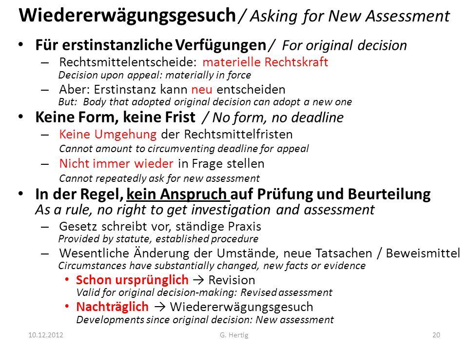 Wiedererwägungsgesuch / Asking for New Assessment