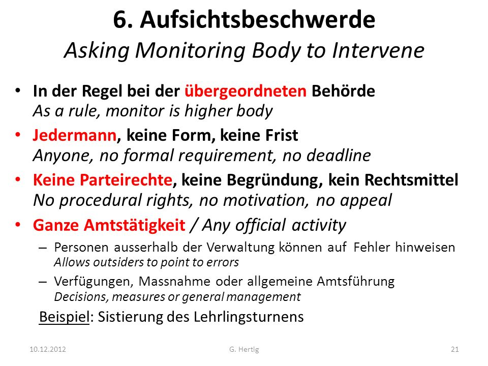 6. Aufsichtsbeschwerde Asking Monitoring Body to Intervene
