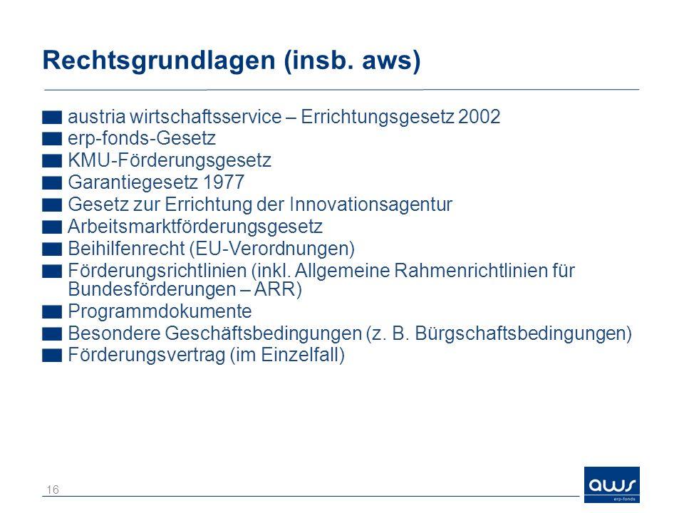 Rechtsgrundlagen (insb. aws)