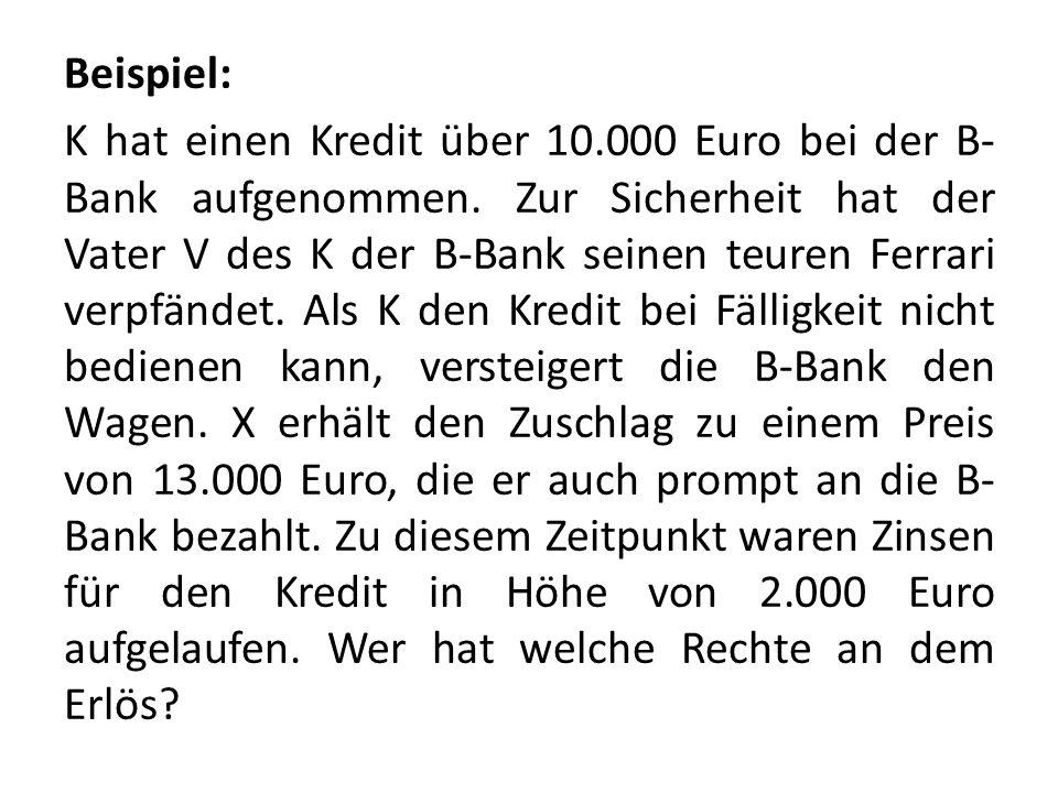 Beispiel: K hat einen Kredit über 10