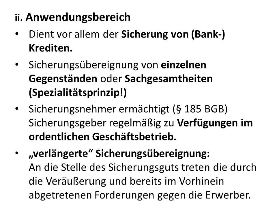 Dient vor allem der Sicherung von (Bank-) Krediten.