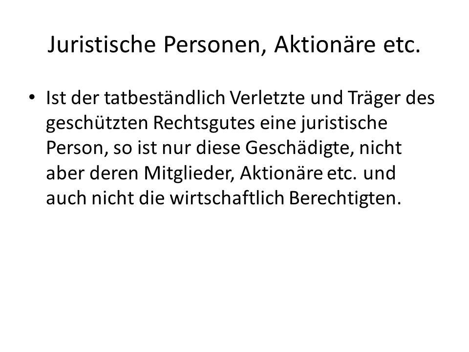 Juristische Personen, Aktionäre etc.